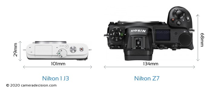Nikon 1 J3 vs Nikon Z7 Camera Size Comparison - Top View