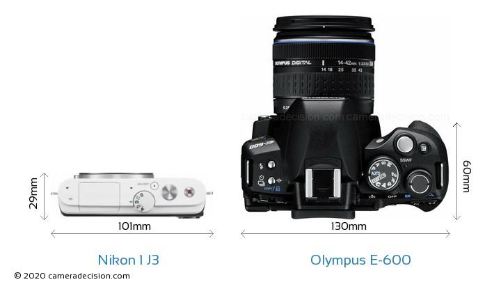 Nikon 1 J3 vs Olympus E-600 Camera Size Comparison - Top View