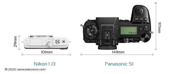 Nikon 1 J3 vs Panasonic S1 Camera Size Comparison - Top View