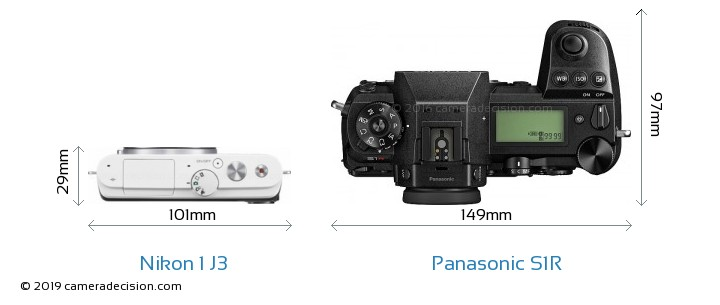 Nikon 1 J3 vs Panasonic S1R Camera Size Comparison - Top View