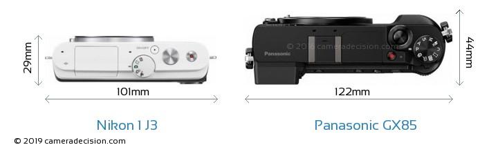 Nikon 1 J3 vs Panasonic GX85 Camera Size Comparison - Top View