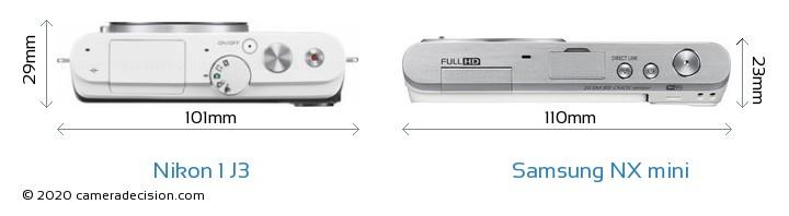 Nikon 1 J3 vs Samsung NX mini Camera Size Comparison - Top View