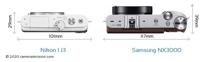 Nikon 1 J3 vs Samsung NX3000 Camera Size Comparison - Top View