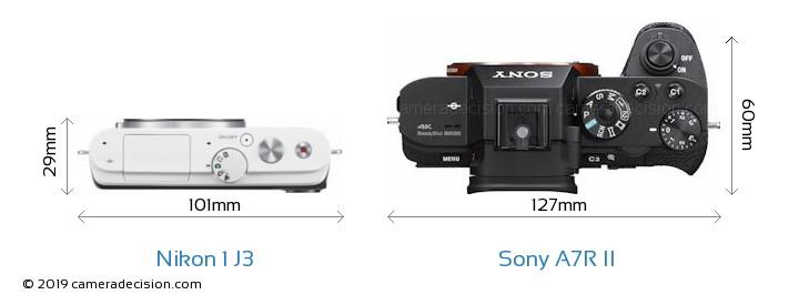 Nikon 1 J3 vs Sony A7R II Camera Size Comparison - Top View