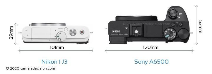 Nikon 1 J3 vs Sony A6500 Camera Size Comparison - Top View