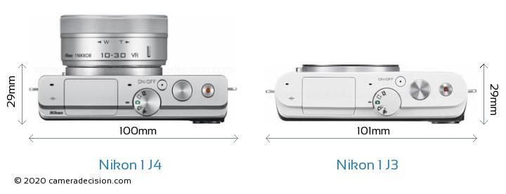Nikon 1 J4 vs Nikon 1 J3 Camera Size Comparison - Top View