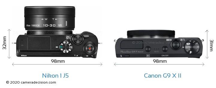 Nikon 1 J5 vs Canon G9 X II Camera Size Comparison - Top View