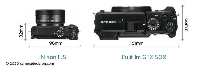 Nikon 1 J5 vs Fujifilm GFX 50R Camera Size Comparison - Top View