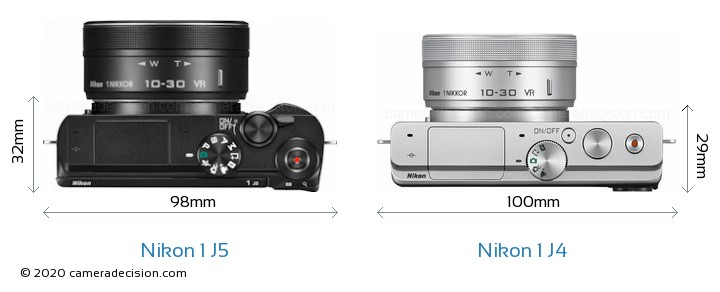 Nikon 1 J5 vs Nikon 1 J4 Camera Size Comparison - Top View