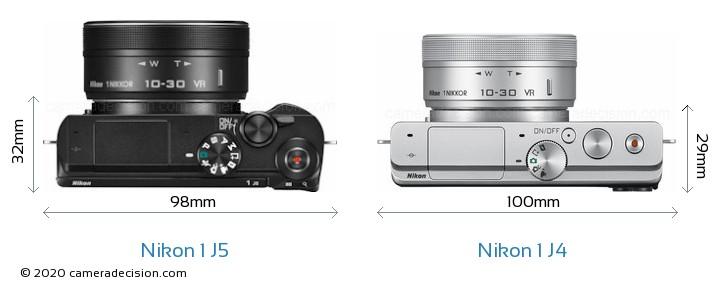 Nikon 1 J5 vs Nikon 1 J4 Camera Size Comparison - Top View