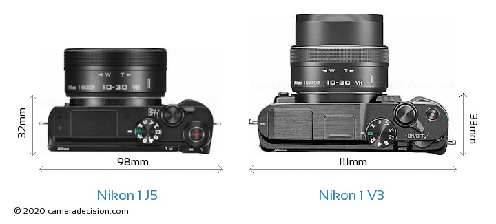Nikon 1 J5 vs Nikon 1 V3 Camera Size Comparison - Top View