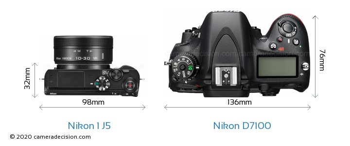 Nikon 1 J5 vs Nikon D7100 Camera Size Comparison - Top View