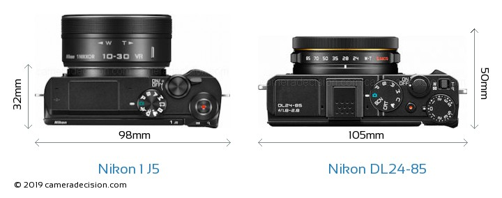 Nikon 1 J5 vs Nikon DL24-85 Camera Size Comparison - Top View