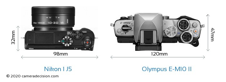 Nikon 1 J5 vs Olympus E-M10 II Camera Size Comparison - Top View
