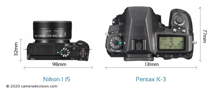 Nikon 1 J5 vs Pentax K-3 Camera Size Comparison - Top View