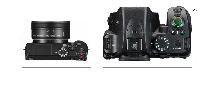 Nikon 1 J5 vs Pentax K-70 Camera Size Comparison - Top View