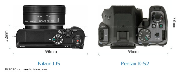 Nikon 1 J5 vs Pentax K-S2 Camera Size Comparison - Top View