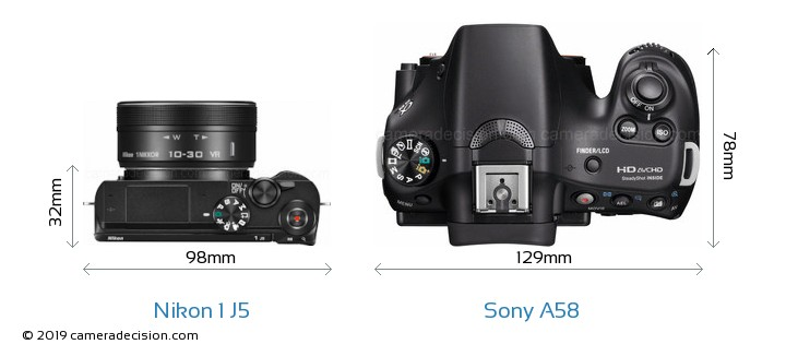 Nikon 1 J5 vs Sony A58 Camera Size Comparison - Top View
