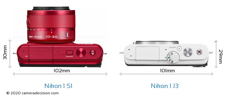 Nikon 1 S1 vs Nikon 1 J3 Camera Size Comparison - Top View