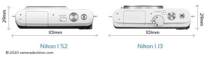 Nikon 1 S2 vs Nikon 1 J3 Camera Size Comparison - Top View