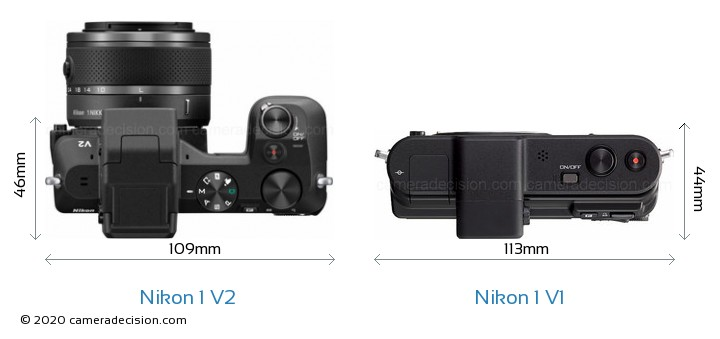 Nikon 1 V2 vs Nikon 1 V1 Camera Size Comparison - Top View
