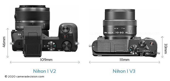 Nikon 1 V2 vs Nikon 1 V3 Camera Size Comparison - Top View
