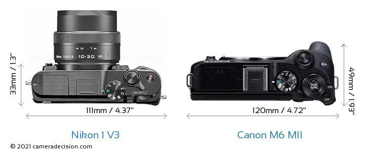 Nikon 1 V3 vs Canon M6 MII Camera Size Comparison - Top View