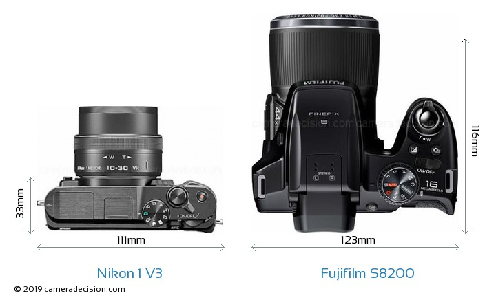 Nikon 1 V3 vs Fujifilm S8200 Camera Size Comparison - Top View
