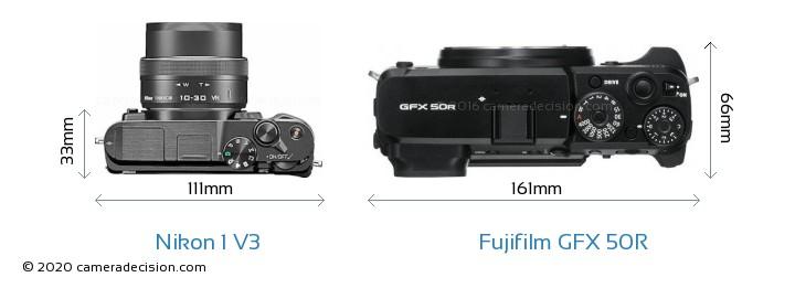 Nikon 1 V3 vs Fujifilm GFX 50R Camera Size Comparison - Top View