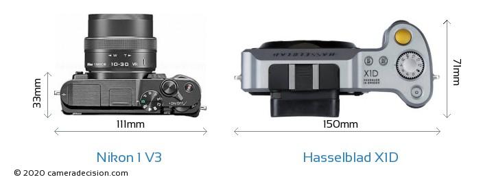 Nikon 1 V3 vs Hasselblad X1D Camera Size Comparison - Top View
