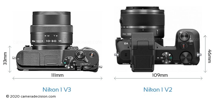 Nikon 1 V3 vs Nikon 1 V2 Camera Size Comparison - Top View