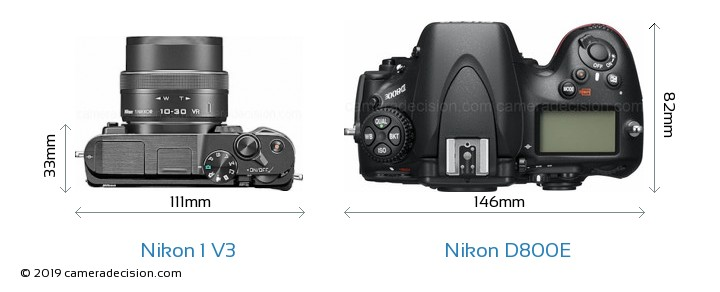 Nikon 1 V3 vs Nikon D800E Camera Size Comparison - Top View