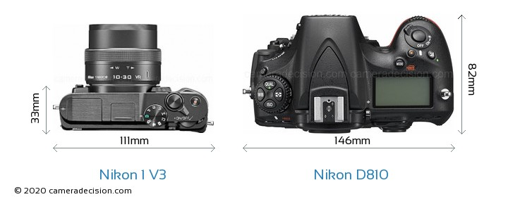 Nikon 1 V3 vs Nikon D810 Camera Size Comparison - Top View