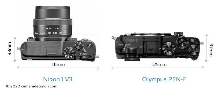 Nikon 1 V3 vs Olympus PEN-F Camera Size Comparison - Top View