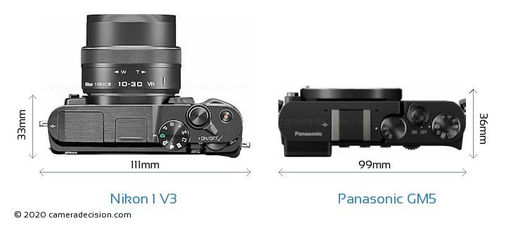 Nikon 1 V3 vs Panasonic GM5 Camera Size Comparison - Top View