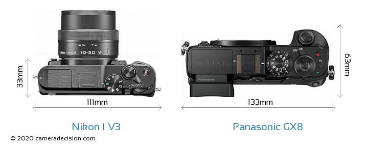 Nikon 1 V3 vs Panasonic GX8 Camera Size Comparison - Top View