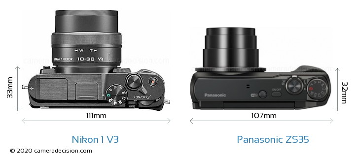 Nikon 1 V3 vs Panasonic ZS35 Camera Size Comparison - Top View