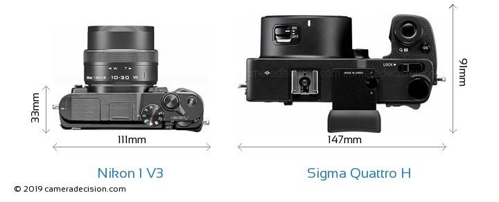 Nikon 1 V3 vs Sigma Quattro H Camera Size Comparison - Top View
