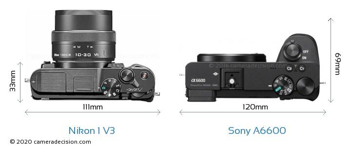 Nikon 1 V3 vs Sony A6600 Camera Size Comparison - Top View