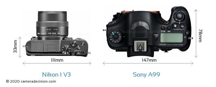 Nikon 1 V3 vs Sony A99 Camera Size Comparison - Top View