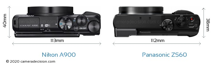 Nikon A900 vs Panasonic ZS60 Camera Size Comparison - Top View