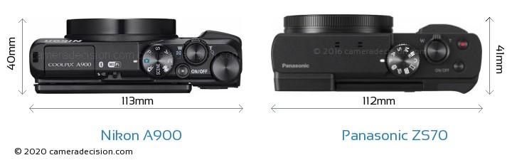 Nikon A900 vs Panasonic ZS70 Camera Size Comparison - Top View