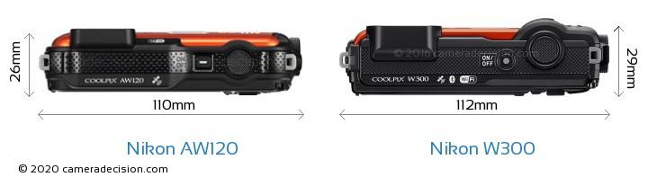 Nikon AW120 vs Nikon W300 Camera Size Comparison - Top View