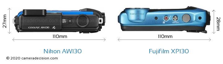 Nikon AW130 vs Fujifilm XP130 Camera Size Comparison - Top View