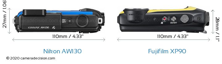 Nikon AW130 vs Fujifilm XP90 Camera Size Comparison - Top View