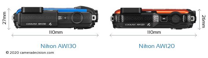 Nikon AW130 vs Nikon AW120 Camera Size Comparison - Top View