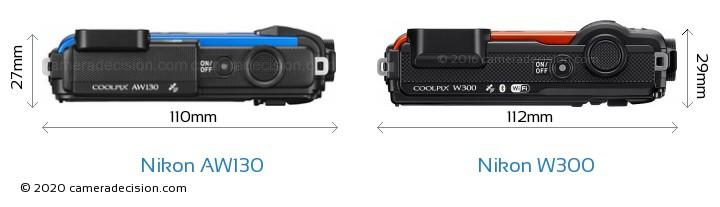 Nikon AW130 vs Nikon W300 Camera Size Comparison - Top View