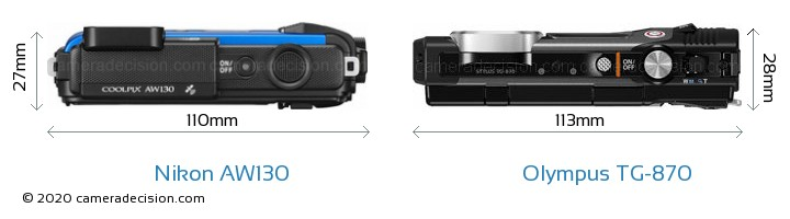 Nikon AW130 vs Olympus TG-870 Camera Size Comparison - Top View