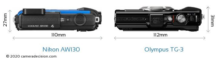 Nikon AW130 vs Olympus TG-3 Camera Size Comparison - Top View