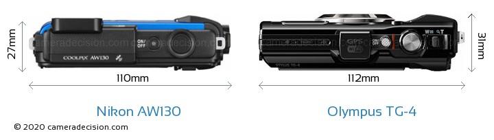 Nikon AW130 vs Olympus TG-4 Camera Size Comparison - Top View